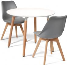 Toulouse Dining Set  - 90cms Round White Table & 2 Grey Chairs